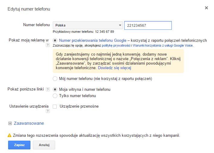 Google Call Metrics konfiguracja
