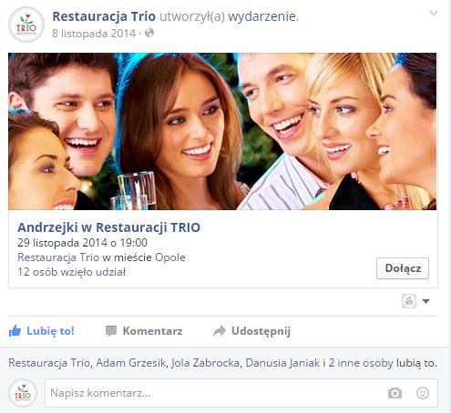 Przykładowa reklama promująca wydarzenie na Facebooku