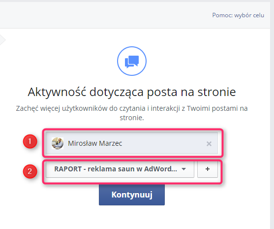 reklama na facebooku - promowanie posta