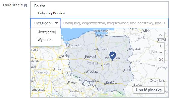 Reklama na facebooku - lokalizacja
