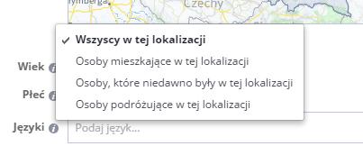 reklama na facebooku - wybór lokalizacji