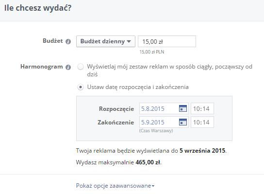reklama facebook budżet