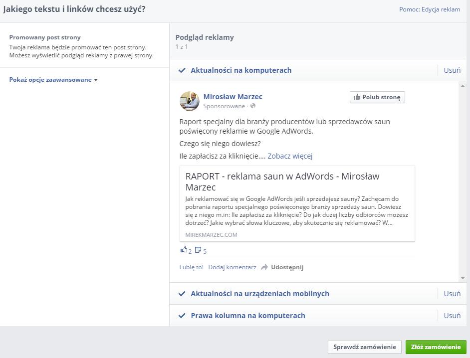 reklama na facebooku podsumowanie