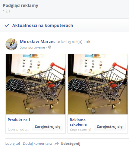 reklama wiele obrazów facebook