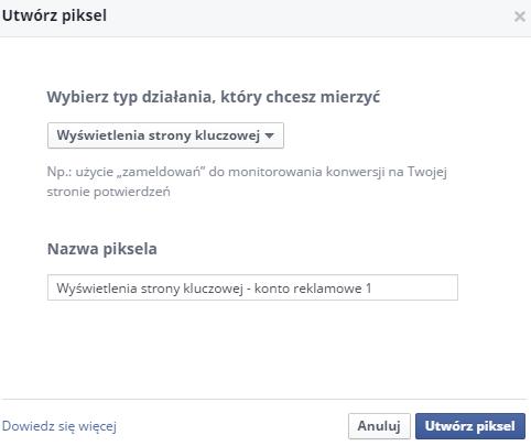 tworzenie piksela konwersji facebook