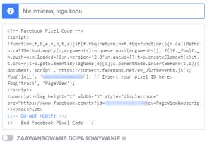 Targetowanie reklamy na Facebooku - kod piksela facebooka